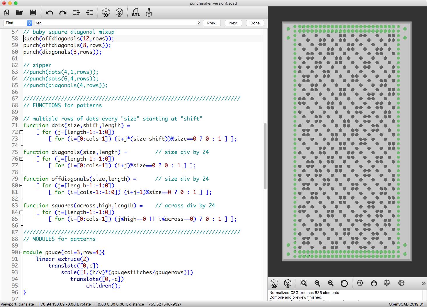 Punch Card Knitting Machine Patterns with OpenSCAD - mathgrrl